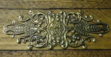 4 x Antique filigree centres 85x33mm Jewelery wooden box embellishment aged C038